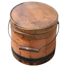 Antique Firkin With Rare Salmon Paint
