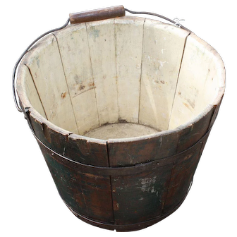 Shaker Bucket With Original Paint And Signed
