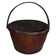 Rare Wood Staved Swing Handled Basket