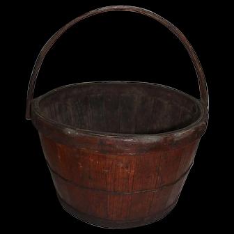 Rare Wood Staved Swing Handled Basket