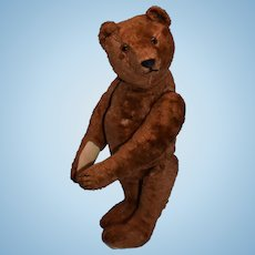 Unusual Brown Steiff Silk Plush Teddy , FF Button