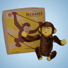 Cute Vintage Russian Wind Up Tumbling Monkey