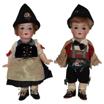 Amazing Pair Tyrolean Kammer and Reinhardt German Bisque Toddlers, 126 in  Original Costumes