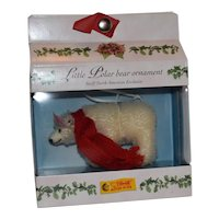 Steiff White Polar Bear Ornament, 2003, MIB, Limited Edition, North American Exclusive