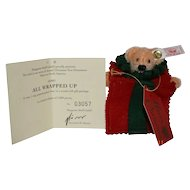 "Steiff Teddy Bear Christmas Ornament , ""All Wrapped Up"", Sixth in Series"