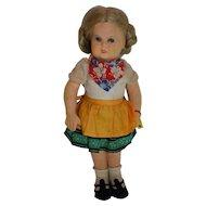 """Fantastic Steiff Felt Doll """"Lisl"""", FF Button, Yellow Flag, 1938-41"""