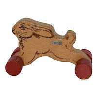 Vintage Steiff Wooden Rabbit on Wheels