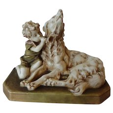 Royal Dux Figure of a Boy and Hound