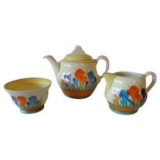 Clarice Cliff Crocus Windsor Shape Teapot, Milk Jug and Sugar Bowl