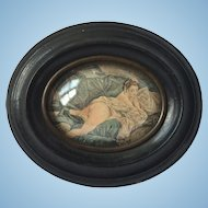 19th C. Risque Miniature Print in Original Convex Glass Frame