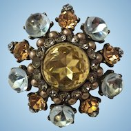 Fabulous Yosca Rhinestone Brooch Pin Pendant