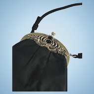 "Vintage ""After Five"" Black Satin Purse with Ornate Metal Frame with Stone"