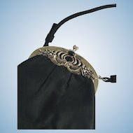 """Vintage """"After Five"""" Black Satin Purse with Ornate Metal Frame with Stone"""