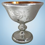 19th C. Mercury Glass Compote Gold Wash Interior