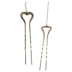 Two Victorian Gold Filled Hair Pins with Attached Chains