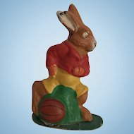Vintage German Plaster Dressed Bunny Rabbit with Football