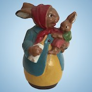 Vintage Plaster German Rabbit Mother and Baby Candy Container