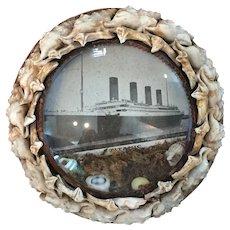 Unusual Victorian Shell Art Sailor's Valentine Titanic Memorial Diorama in Excellent Condition