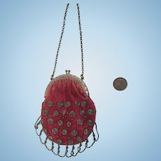 Antique Velvet and Cut Steel Beaded Doll Size Purse Perfect for your French or bebe!