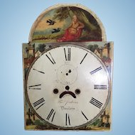 Antique 19th C. Clock Dial Face Featuring Moses or Elijah being Fed by Ravens...Gorgeous Details