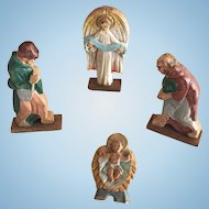 c.1900's Vintage Wooden Christmas Putz Pieces...Angel, Jesus and Shepherds