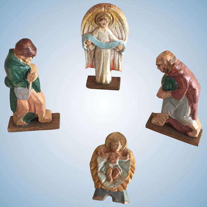 C1900s Vintage Wooden Christmas Putz Piecesangel Jesus And Shepherds