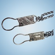 Two Ornate Victorian Era Metal Advertisement Key Ring Chains...Fabulous!