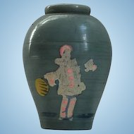 "1930's Art Deco French Plastic Solid Perfume Pot by ""Bag-Dab"" Figural Bottle with Pierrot"