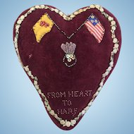 c.1880's Victorian Folk Art Large Valentine Heart Pillow Pincushion Scottish and American Flags