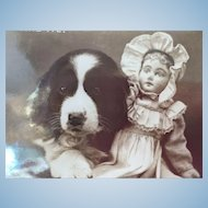 Vintage 1906 Photographic Postcard of Antique Cloth Doll and St. Bernard Puppy Dog