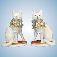 Stunning Pair of Early Antique Porcelain German Cat Figures
