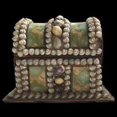 Victorian Shell Art Sailor's Valentine Treasure Chest Box