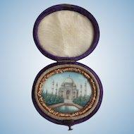 Victorian c.1868 Miniature Painting of Taj Mahal and Tintype of Man in Original Case
