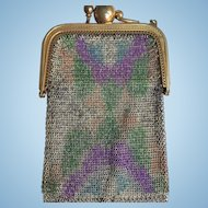 A Most Unusual c.1920's Art Deco Mesh Purse Featuring Built In Mirror and Memorandum Slate