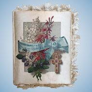 c.1884 Victorian Silk Covered Christmas Hymn Book