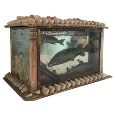 Antique Victorian Sailor's Valentine Shell Art Novelty Form Aquarium Box
