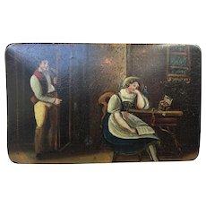 Victorian Paper Mache Hand Painted Scenic Snuff Box