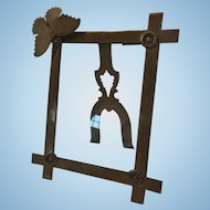 Antique Brass Art Nouveau Easel and Glass Style Picture Frame with Butterfly