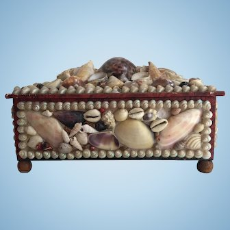 Antique Victorian Sailor's Valentine Shell Art Sewing Box with Wood Bun Feet