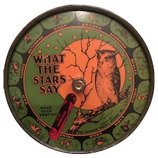 Fabulous 1920's Halloween  Wise Old Owl 'What The Stars Say' Tin Spinner Toy