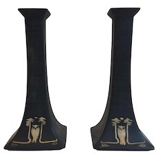 Stunning Antique Victorian Limoges Porcelain Black and Gold Tall Owl Candlestick Holders