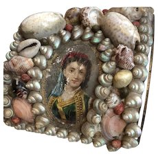 Victorian Shell Art Sailor's Valentine Box with Lithograph Gorgeous!