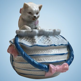 Antique German Porcelain Cat Looking Into Basket--Large!