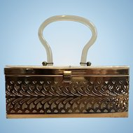 Gorgeous 1940's-1950's Art Deco Plastic Lucite and Gold Metal Purse--FAB!