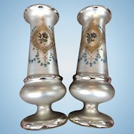 Exceptional Large Pair Antique Victorian Enameled Mercury Glass Vases in Excellent Condition