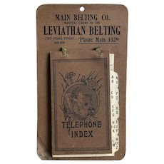 Victorian/Edwardian Era c.1912 Main Belting Co. Leviathan Telephone Index Cardboard Advertisement Piece