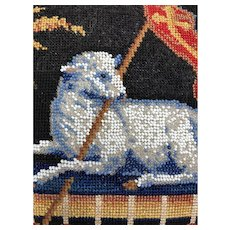 Early Victorian Beadwork Needlepoint Lamb of God Textile Converted to Pillow