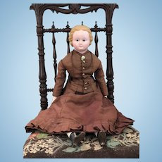 c. 1860's Large Antique Primitive Wax Over Paper Mache Doll In All Original Clothing
