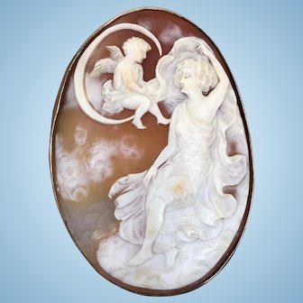 Large Unusual Antique Cameo Brooch Featuring Cupid on the Moon, Clouds and Woman Set in Gold