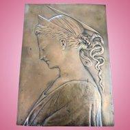 Art Nouveau Era Bronze Depiction of Virgin Mary or Angel Religious Plaque